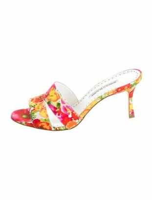 Manolo Blahnik Floral Print Slides Pink