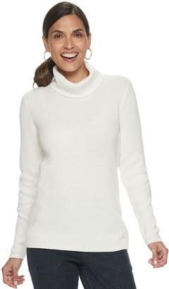 Croft & Barrow Women's Shaker T-Neck Pullover Sweater