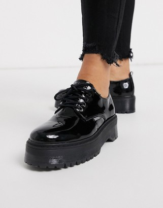 Bronx leather chunky lace up shoes in black