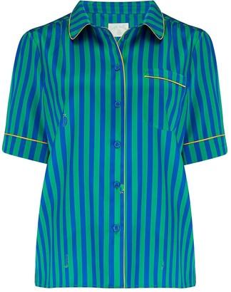 Sleepy Wilson Poppy Silk Pyjama Blouse In Rainforest Stripe