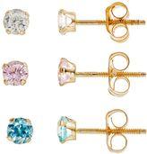 Charming Girl 14k Gold Stud Earring Set - Made with Swarovski Cubic Zirconia - Kids