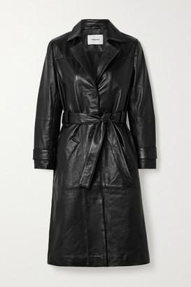 Deadwood Terra Belted Leather Coat - Black