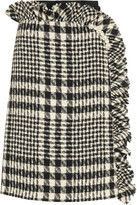 Simone Rocha Embellished plaid bouclé-tweed and embroidered tulle skirt