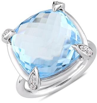 Saks Fifth Avenue 14K White Gold, Blue Topaz White Sapphire Statement Ring