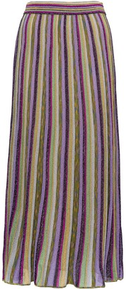 M Missoni Metallic Striped Maxi Skirt