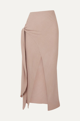BEIGE The Line By K - Celia Knotted Crepe Midi Skirt