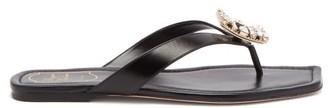 Roger Vivier Mini Crystal-buckle Leather Flip Flops - Black