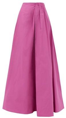 Valentino Gathered-waist Cotton-blend Faille Skirt - Pink