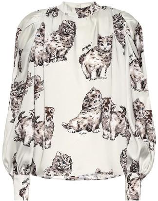 MSGM Cat-print faille blouse
