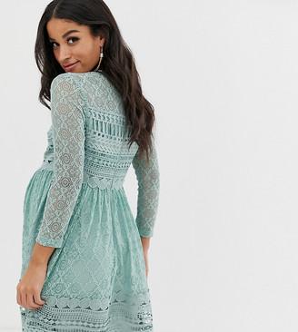 Asos DESIGN Maternity premium lace mini skater dress