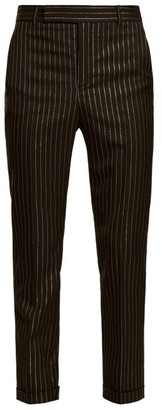 Saint Laurent Metallic Pinstripe Wool-blend Twill Trousers - Mens - Black Gold