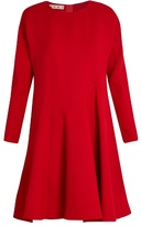 Marni Flared-hem long-sleeved silk and wool-blend dress