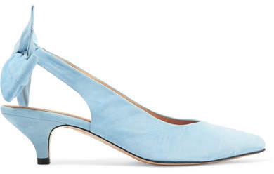 Ganni Sabine Suede Slingback Pumps - Light blue