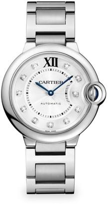 Cartier Ballon Bleu de Medium Diamond & Stainless Steel Automatic Bracelet Watch