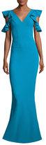 Chiara Boni La Petite Robe Beaufort Cold-Shoulder Ruffle-Sleeve Jersey Gown, Blue