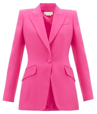 Alexander McQueen Single-breasted Wool-blend Leaf-crepe Blazer - Womens - Pink