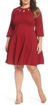 Gabby Skye Plus Size Women's Keyhole Neck Ottoman Fit & Flare Dress