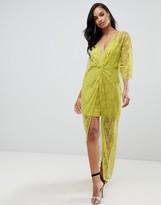 Asos Design DESIGN lace knot front kimono maxi dress
