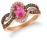 Zales Le VianA Oval Bubblegum Pink Sapphirea and 1/2 CT. T.W. Diamond Bypass Ring in 14K Strawberry GoldA