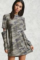 Forever 21 FOREVER 21+ Elbow-Cutout Camo Print Tunic