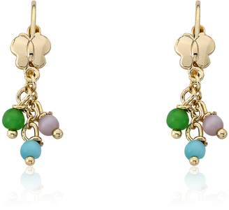 "Little Miss Twin Stars""Cat-Eyed Bead"" 14k Gold-Plated Earrings with Gold Post and Dangling Multicolor Cat-Eye Beads"