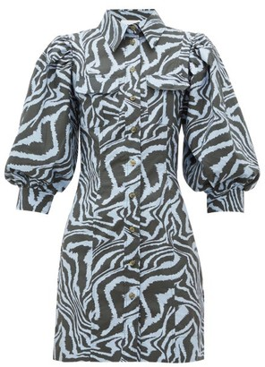 Ganni Puff-sleeve Zebra-print Cotton Dress - Womens - Blue Multi