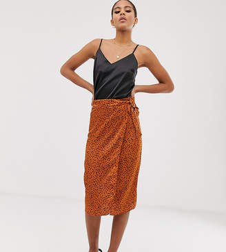 Outrageous Fortune Tall wrap midi skirt in tan polka dot-Black