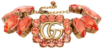 Gucci Gold and Red GG Marmont Heart Necklace