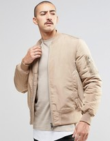 Asos Bomber Jacket With MA1 Pocket In Camel