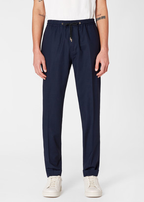 Paul Smith Men's Dark Navy Wool Drawstring Trousers