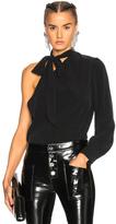 AG Adriano Goldschmied Malie Tie Neck Top in Black.