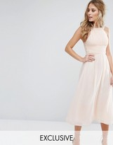 Little Mistress Embellished Empire Midi Dress with Chiffon Skirt