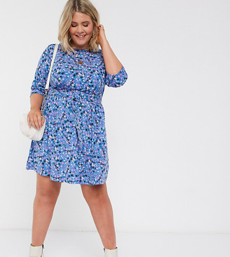 Simply Be belted skater dress in floral print