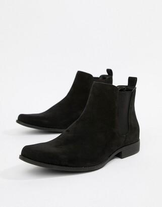 Asos Design DESIGN chelsea boots in black faux suede