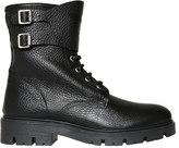 Armani Junior Textured Leather Combat Boots