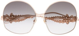 Elie Saab Oversized Crystal-Arm Sunglasses