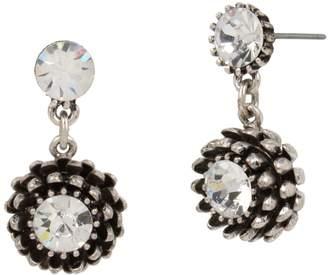 Miriam Haskell Silvertone Crystal Flower Drop Earrings