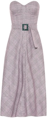 Rotate by Birger Christensen Peggy checked bustier midi dress