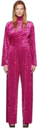 Balenciaga Pink Velvet Jersey Draped Jumpsuit