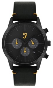 Farah Men's the Chrono Collection Black Leather Strap Watch 42mm