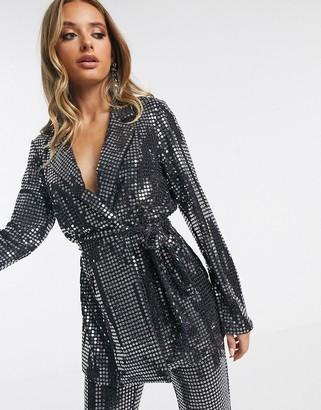 Asos Design DESIGN jersey sequin belted wrap suit blazer-Silver