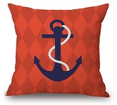 Venzhe Mediterranean Decorative Nautical Pillows Cushion Cover Map of the World Lifebuoy Anchors Sailboat Compass Rudder Lighthouse Nautical Pillow case Linen 18x18 Inch - Pattern 4