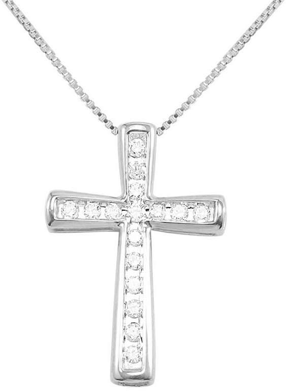 JCPenney FINE JEWELRY CT. T.W. Diamond Cross 10K White Gold Pendant Necklace
