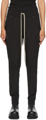 Rick Owens Black Silk Cargo Jogging Lounge Pants