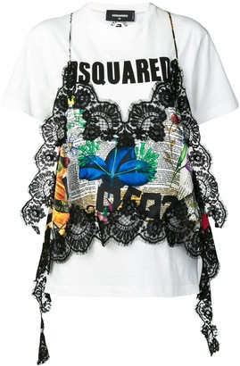DSQUARED2 lace embellished graphic T-shirt