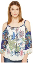 Hale Bob Sonic Bloom Rayon Stetch Satin Woven Cold Shoulder Top Women's Clothing