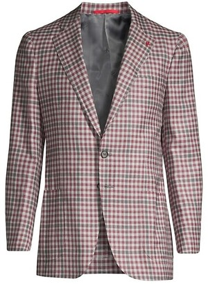 Isaia Gingham Wool, Cashmere, Silk & Linen Single-Breasted Jacket