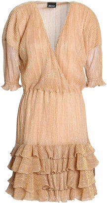 Just Cavalli Metallic Ruffled Striped Mini Dress