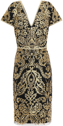 Marchesa Metallic Embroidered Tulle Dress