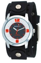Nemesis #B106KN Men's Embossed Design Collection Black Wide Leather Watch